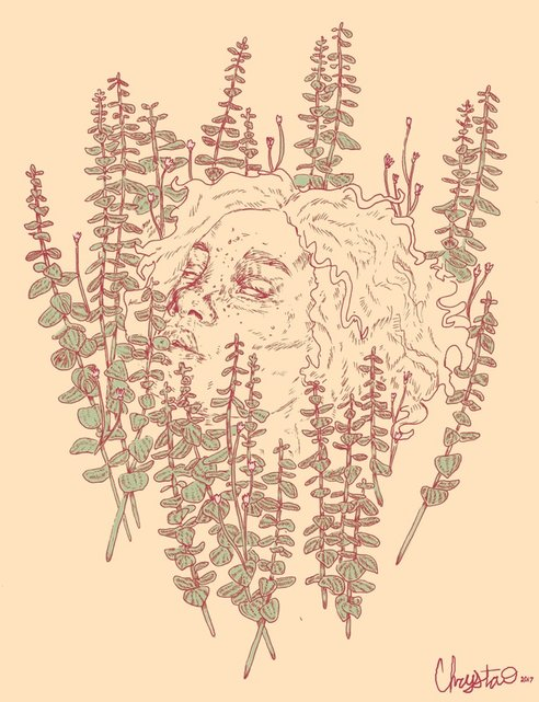 Image of a surreal illustration by Chrysta Kay. Drawing of a female portrait surrounded by eucalyptus leaves.