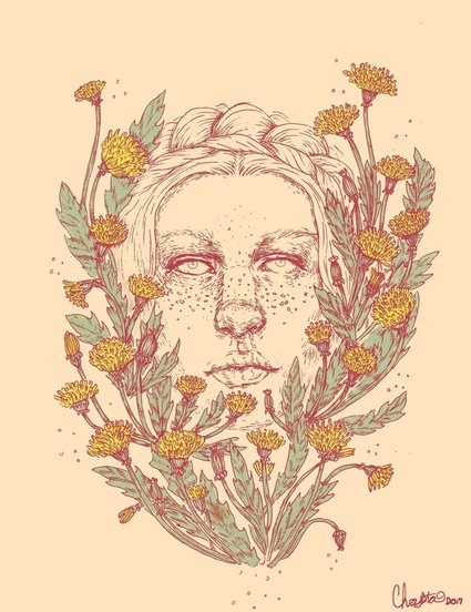 Illustration of a woman with freckled surrounded by dandelion flowers