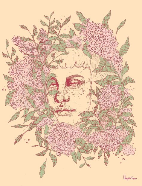 Image of a female face with freckles, surrounded by lilac flowers. Illustration by Chrysta Kay.