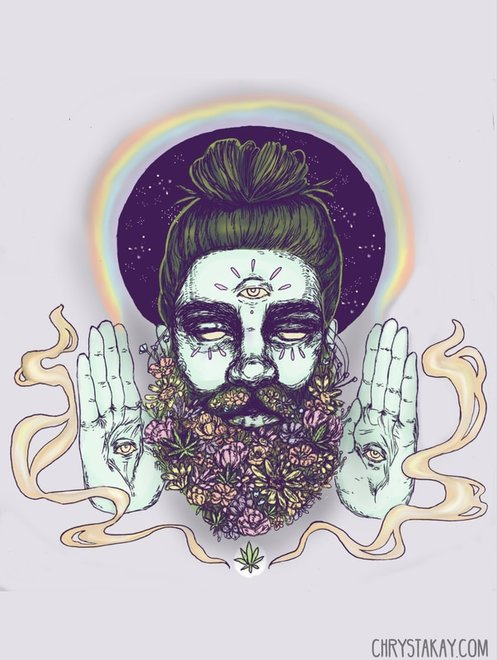 Picture of an illustration by Chrysta Kay. Man with flower beard and man bun.